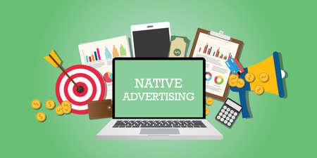 concept publicitaire natif avec les médias et les outils de marketing illustré dans le vecteur d'ordinateur portable