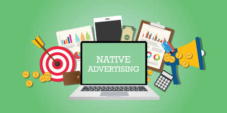 native advertising concept with marketing media and tools illustrated in laptop vector