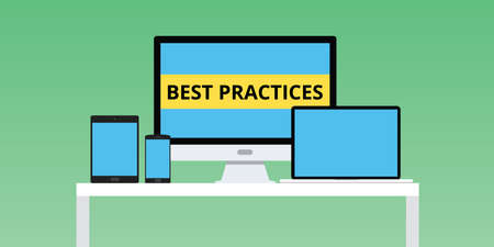 best practices: best practice practices illustration with laptop and notebook smartphone multi platform