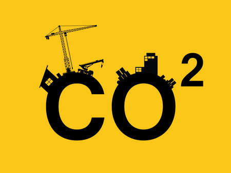 co2 pollution illustrated in text with city pollution silhouette