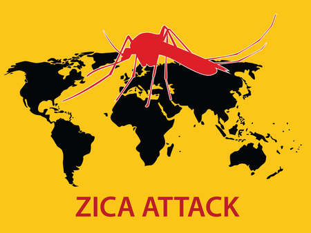 aedes: zica virus attack concept world map globe