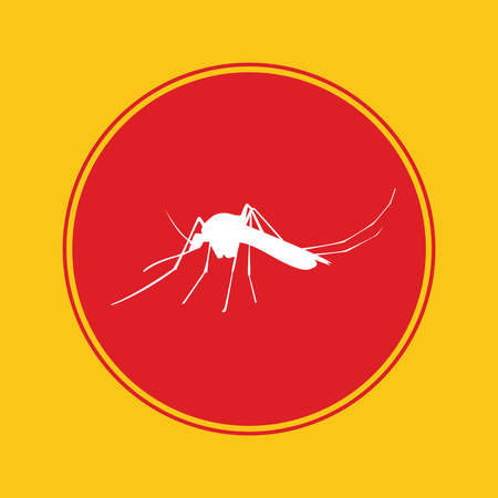 dipterus: mosquito icon with red danger alert Illustration