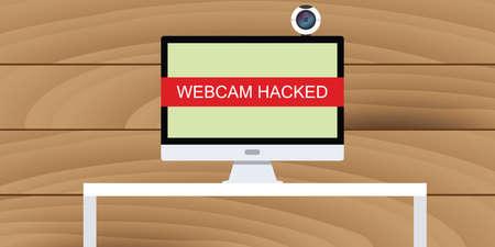 hacked: web cam hack webcam hacked illustration in pc desktop computer camera