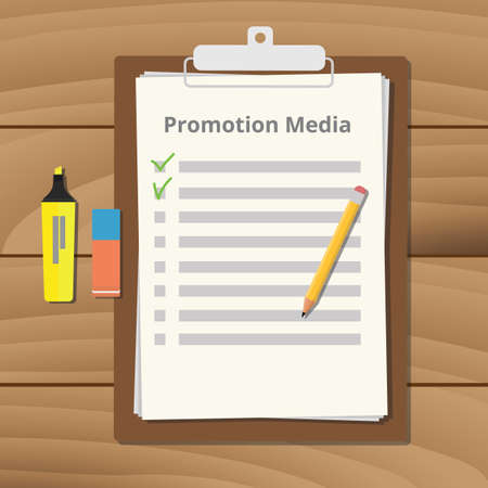 promotional media checklist on the clipboard with pencil marker and eraser illustration Illustration