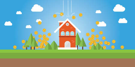 home value: property value with gold coin money falling from sky graphic illustration Illustration