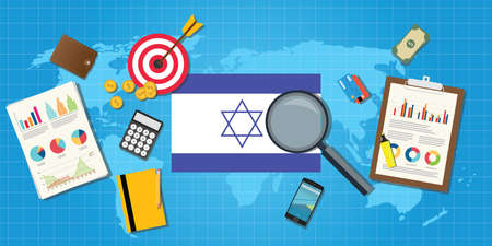 financial condition: isreal jewish middle east economy economic condition country with graph chart and finance tools vector graphic illustration