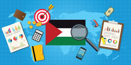 condition: palestine economy economic condition country with graph chart and finance tools vector graphic illustration