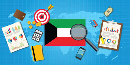 financial condition: kuwait middle east economy economic condition country with graph chart and finance tools vector graphic illustration