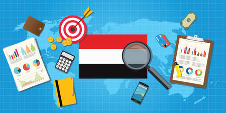 traders: yemen yaman economy economic condition country with graph chart and finance tools vector graphic illustration Illustration