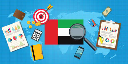 financial condition: united arab emirates economy economic condition country with graph chart and finance tools vector graphic illustration