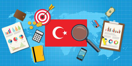 financial condition: turkey europe economy economic condition country with graph chart and finance tools vector graphic illustration