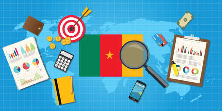 financial condition: cameroon africa economy economic condition country with graph chart and finance tools vector graphic illustration Illustration