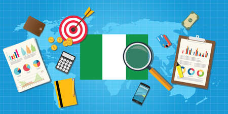 financial condition: nigeria africa economy economic condition country with graph chart and finance tools vector graphic illustration