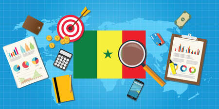 financial condition: senegal africa economy economic condition country with graph chart and finance tools vector graphic illustration