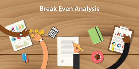 even: break even analysis illustration with team work together with money paper document on top of wooden table
