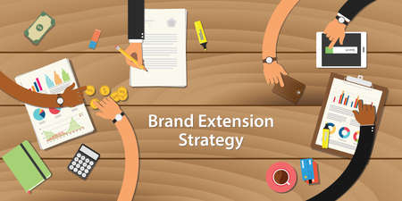 work table: brand extension strategy illustration with team work together on top of the table with money paper document graph chart and gold coin Illustration