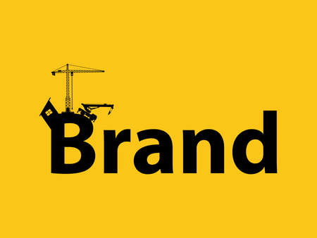 sillhouette: brand branding development illustration with sillhouette text with crane bulldozer and construction theme