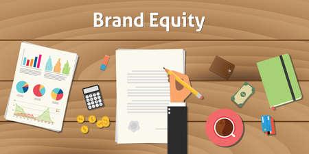 ilustración valoración de marca valor de capital con el trabajo de la mano de negocios en el documento en papel con el gráfico y la tabla con el dinero y la moneda de oro