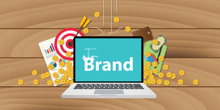 valuation: brand development or building with money goals or gold coin and target valuation written on screen of laptop Illustration