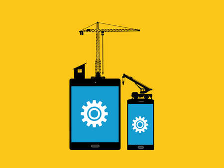 smartphone apps: mobile apps development concept with tab and smartphone with gear and construction tools as illustration