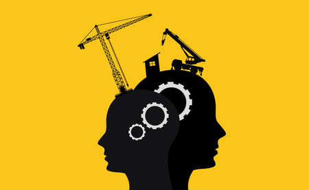 brain intelligence development concept with sillhouette two human head and construction tools