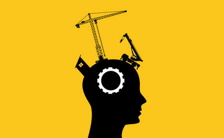 brain intelligence development concept with sillhouette human head and construction tools Imagens - 65838423