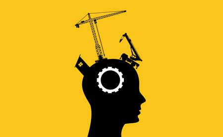 cerveau concept de développement de l'intelligence avec sillhouette tête humaine et des outils de construction Vecteurs