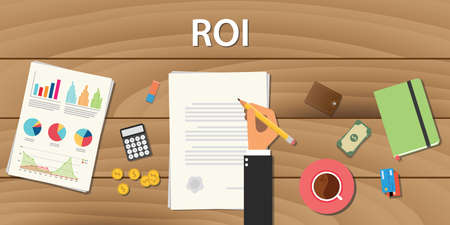 roi return on investment concept with hand work on some paper document with graph chart and wooden table Vektoros illusztráció