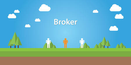 financial adviser: broker illustration with sign broker connection between two people