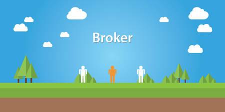 corredor de bolsa: broker illustration with sign broker connection between two people
