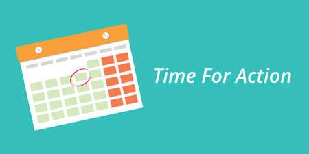 Le temps pour l'action concept avec un calendrier fond bleu illustration graphique vectorielle