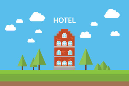 hotel concept with building standing with blue sky background flat tree vector graphic illustration Illustration