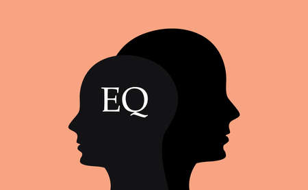 sillhouette: eq emotional question with sillhouette human brain head with orange background Illustration