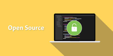 source: open source code program technology software development with yellow background and long shadow vector