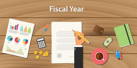 financial year: fiscal year concept illustration with business man working on some paper document with graph chart money on wooden table vector
