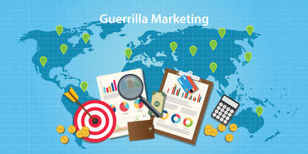 guerrilla: guerilla marketing concept with world map and graph and chart with goals target vector