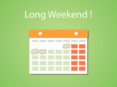 long weekend: long weekend concept illustration with flat style and green background vector Illustration