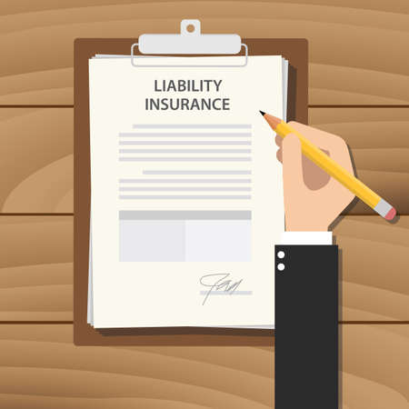 wooden work: liability insurance concept illustration with business man hand signing a paper work document on clipboard with wooden table vector