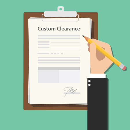 signing: Custom clearance hand signing a paper document work on clipboard vector