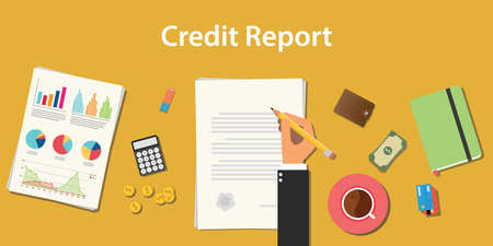Credit report business illustration with business man signing a paper work document with graph and chart vector