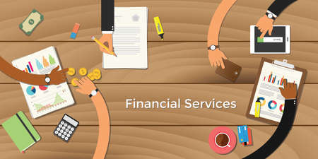 Finance financial services business concept illustration terms with team business man hand writing working on graph chart money paper work vector Stock Illustratie