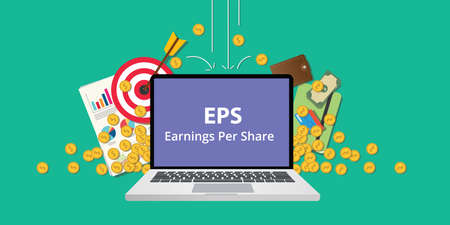 EPS earning per share stock business illustration with laptop and gold money coin goals falling from sky to reflect get profit vector Illustration