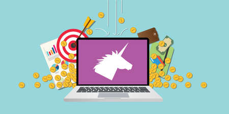 new ipo: unicorn company startup with laptop and money vector
