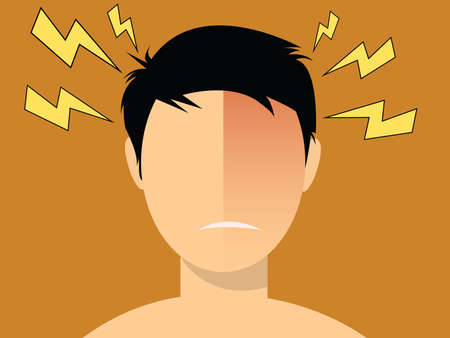 illustraiton: headache migraine illustration men with red head vector Illustration