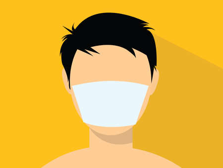 a man using a masker illustration with flat style vector Vectores