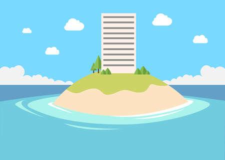 small private company building in small island vector