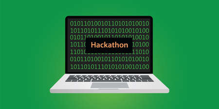 hackathon concept illustration with laptop and text on screen with binary code 0 and 1 programming Illustration