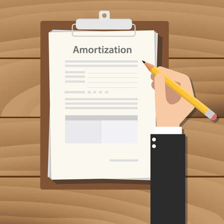 amortization illustration concept with hand business man signing a paperwork document on top of the table