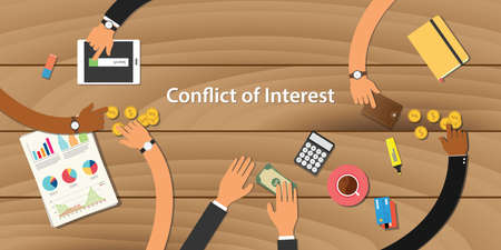 conflict of interest illustration team work together with hand on wooden table with money graph paper work gold coin