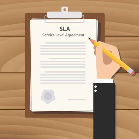 sla dienst niveau overeenkomst illustratie met zakenman ondertekening van een werk op Klembord op houten tafel Vector Illustratie